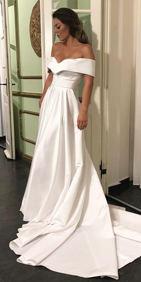 Simple Romantic Off The Shoulder Wedding Dresses Satin Wedding Dress Court Train Bridal Wedding Dress
