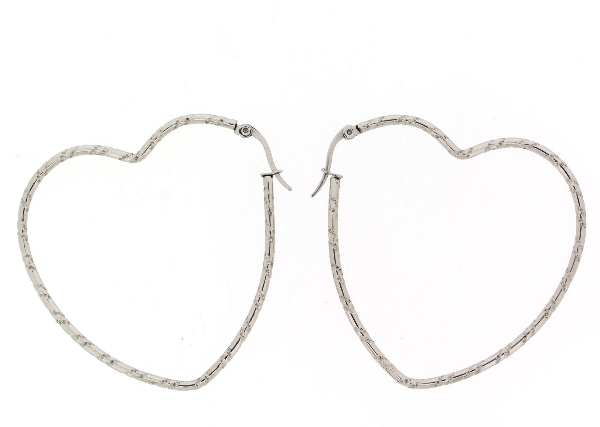 Edforce Stainless Steel Big Heart Hoop Earring (50x51mm)