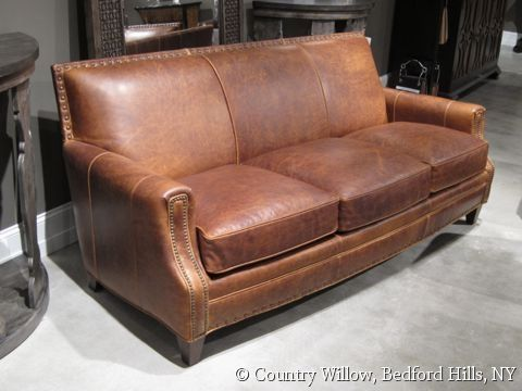 Merveilleux Brown Leather Tight Back Sofa With Nail Heads  Country Willow Furniture
