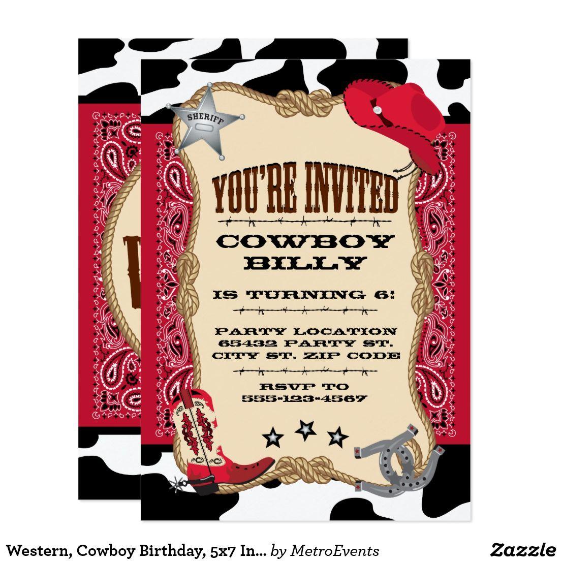Western, Cowboy Birthday, 5x7 Invitation | Cowboy party invitations ...