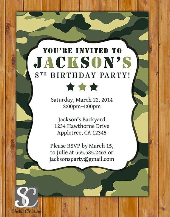 Green Camo Birthday Invitation Personalized Camo Invite Green