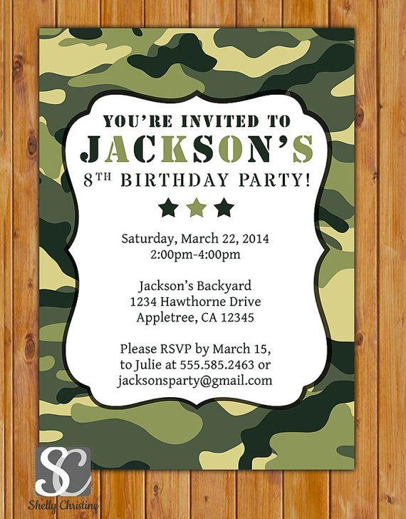 Green Camo Birthday Invitation