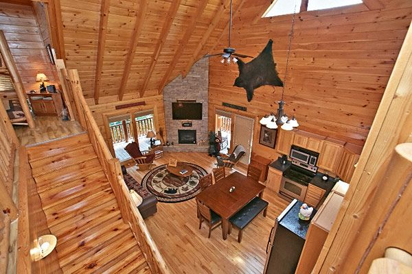 This is the view from the loft by the massage chair for Www cabins of the smoky mountains com