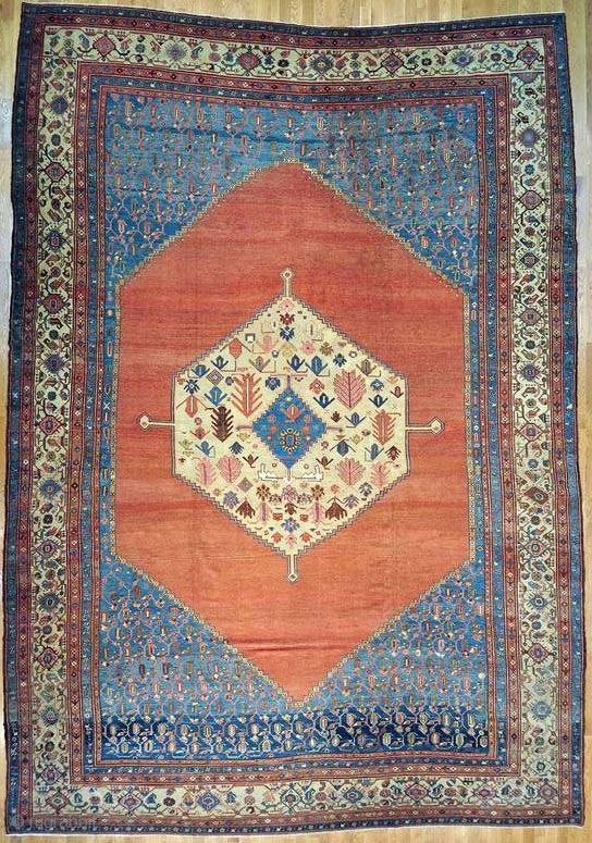 """Bakshaish Persian rug - 13' 10"""" x 19' 6"""" Type: Authentic Persian Rug Handmade Bakshaish Persian rug  Size(ft) 13' 10"""" x 19' 6""""  Size(cm) 422 x 594  Color: Rust Red  Woven: Handmade Rug  Foundation:Cotton  ..."""
