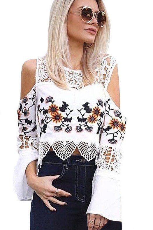 Femme Blanc Manche Crochet Longue Epaule Crop Top Froide qEw45x