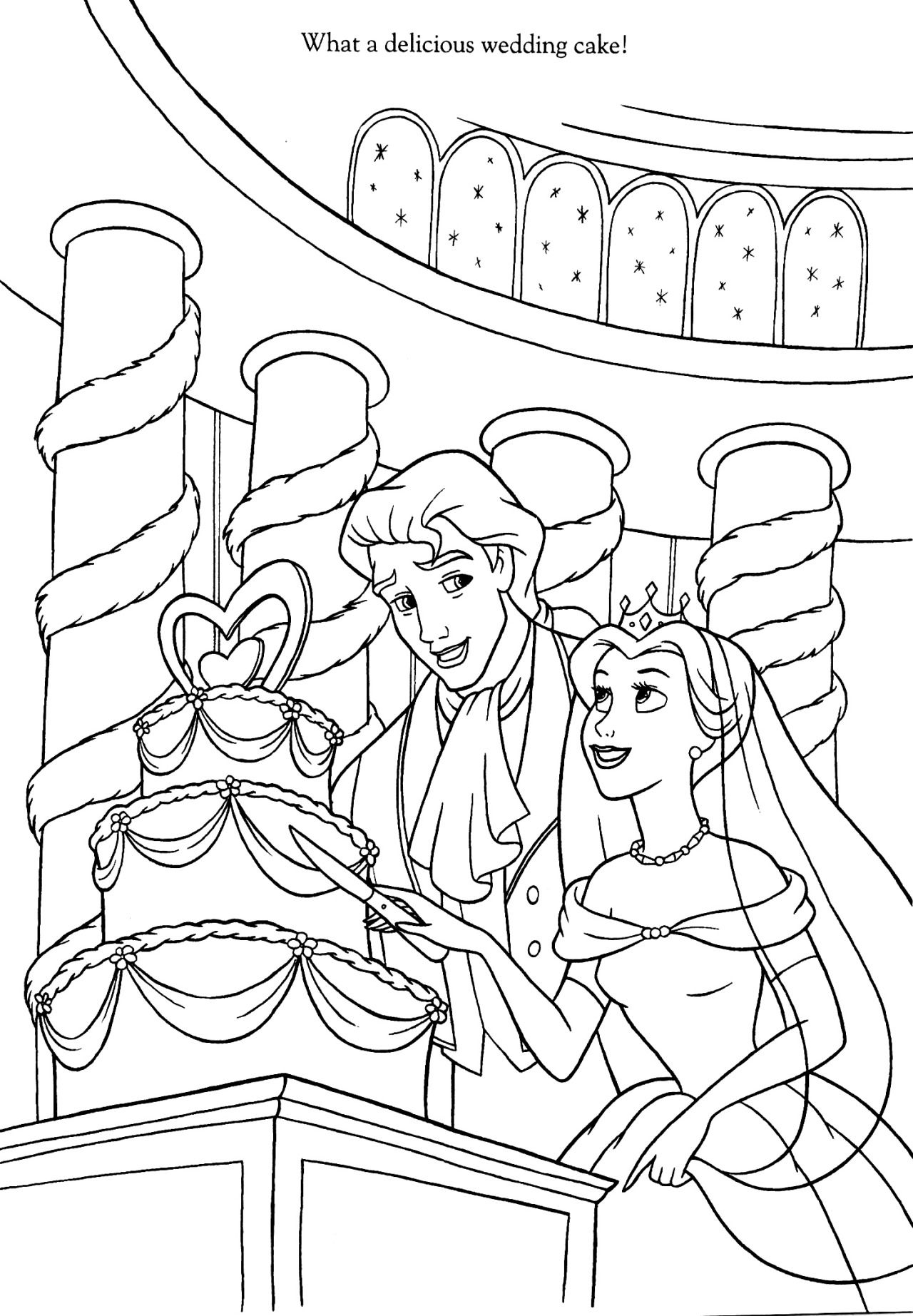Coloriage la belle et la b te coloriages disney - Coloriage de mariee ...