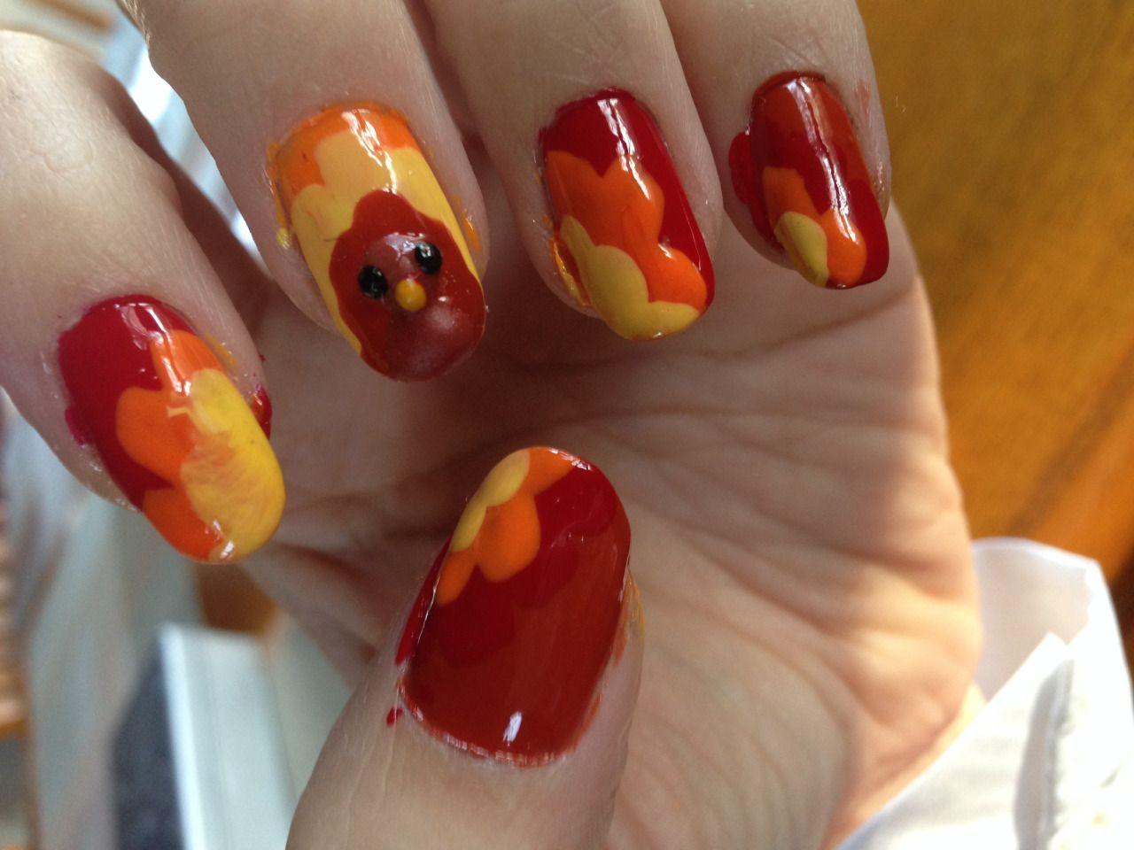 Nov 2015 Thanksgiving Turkey Nails Pilgrim Costume My Nail Art