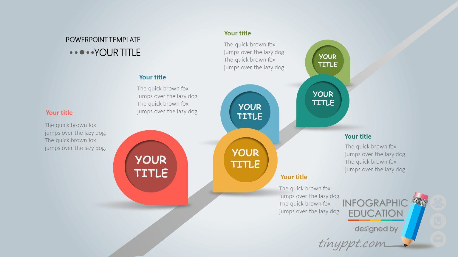 Free Powerpoint Template Timeline With 5 Step Horizontal Timeline