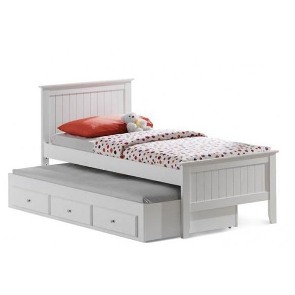 The Alaska Kids Bed With Trundle Is Constructed From Solid Wood In A White Finish The Pull Out Trundle Bed Comes With Thre Trundle Bed Kids Kid Beds Furniture