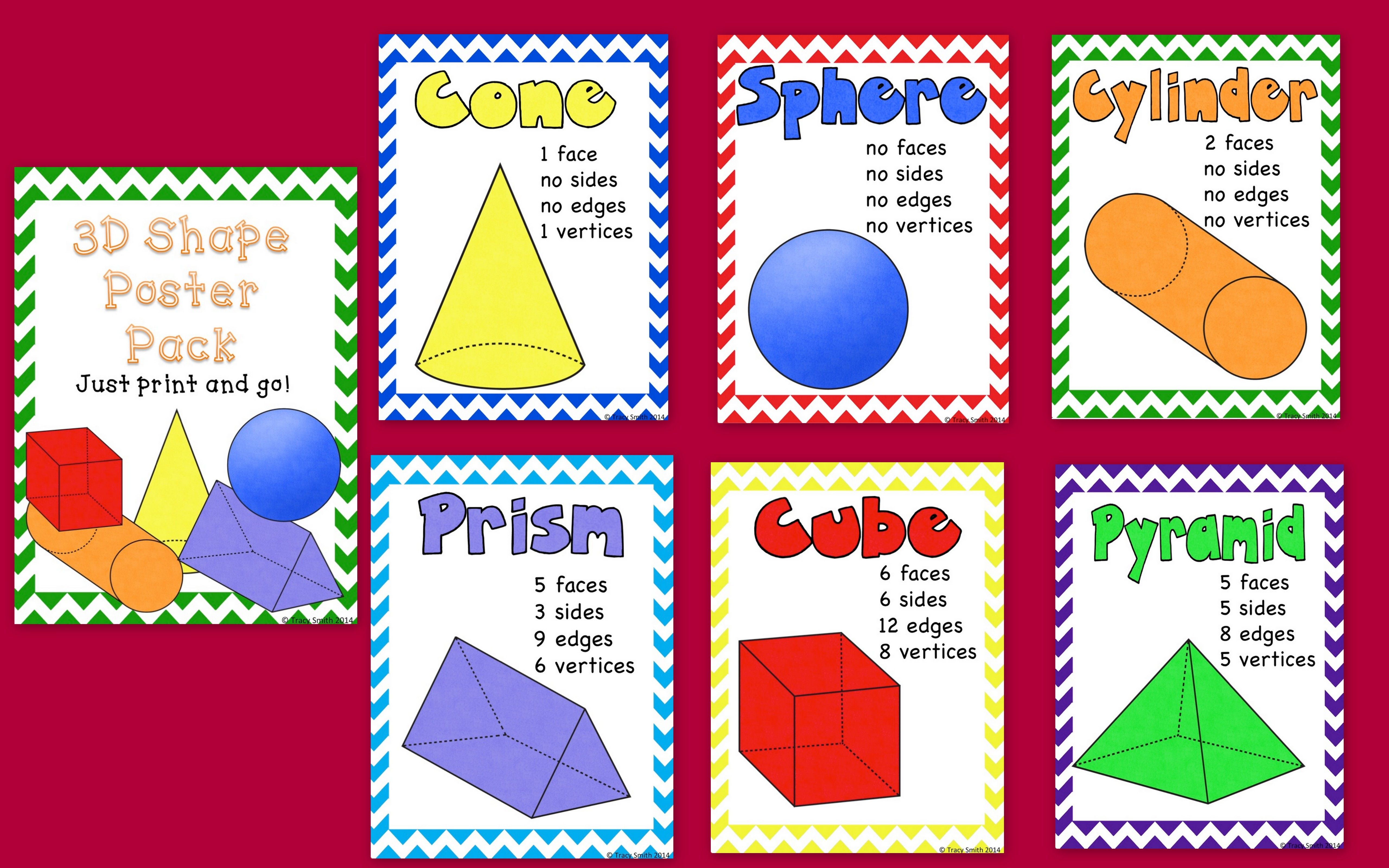 3d Shape Poster Pack Just Print And Use 3d Shape Posters Shape Posters Math Classroom Decorations