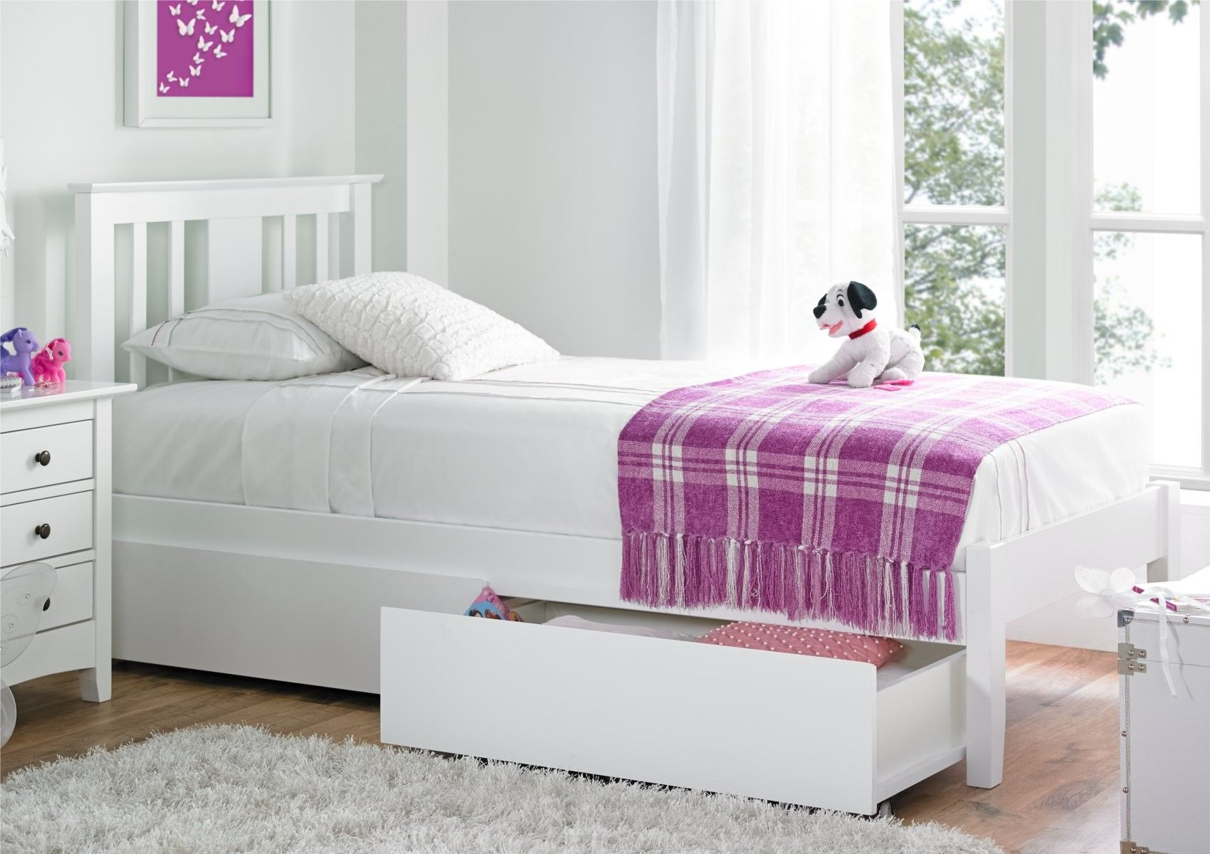 Malmo White Solo Wooden Bed Frame - Painted Wood - Wooden Beds ...