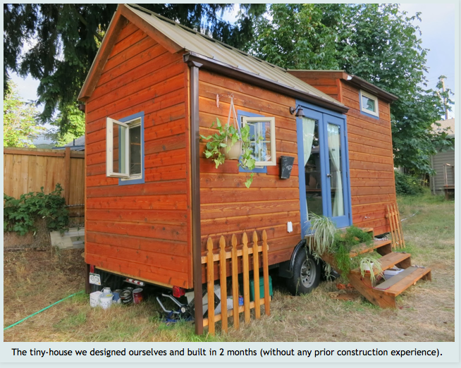Site includes step-by-step journal of a couple with no previous construction experience building a tiny house, including use of SIPs