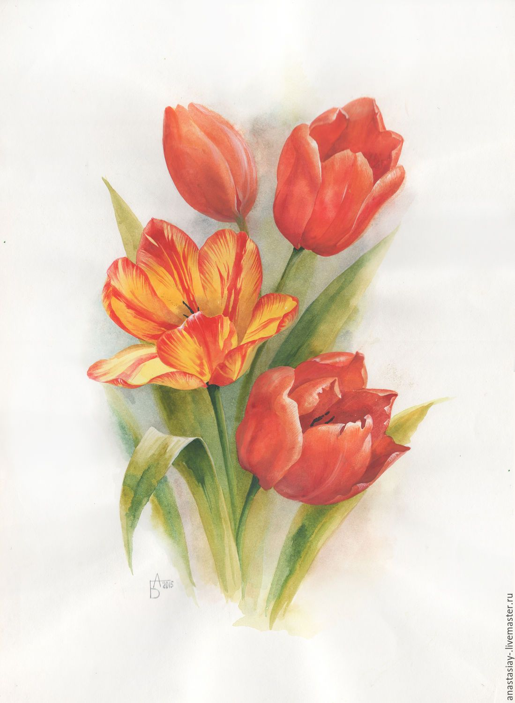 Купить Желтый тюльпан - желтый, тюльпаны, букет цветов, акварельные цветы, цветы, акварель, акварель
