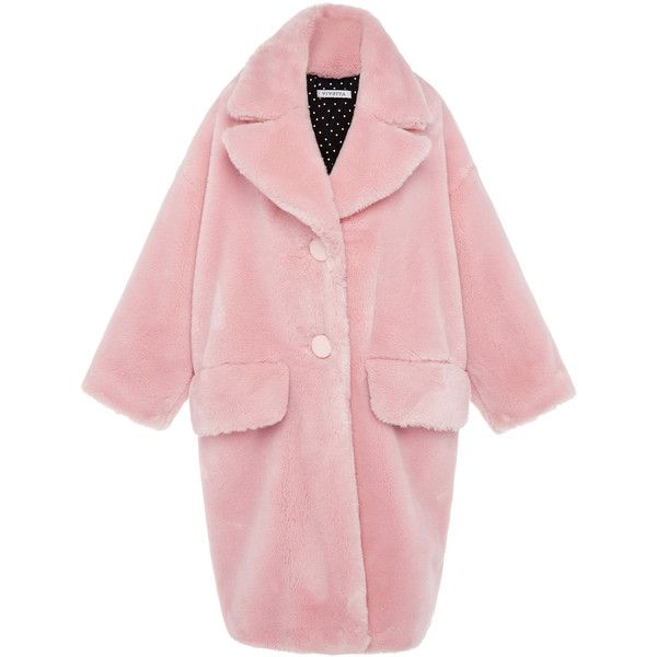 Vivetta Granpa Oversized Faux-Fur Coat (€1.150) ❤ liked on Polyvore featuring outerwear, coats, coats & jackets, jackets, vivetta, fake fur coats, single breasted coat, imitation fur coats and pink faux fur coat