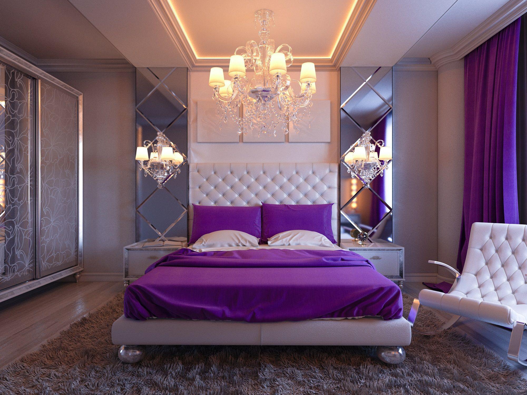 Piękna Biało Fioletowa Sypialnia W Stylu Glamour Urocza