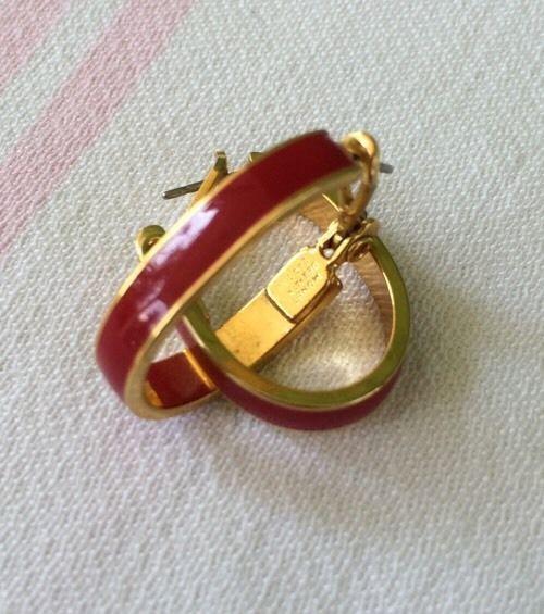 Monet Red And Gold Hoop Earrings Ear Rings Pat 248 252 Enamel Post