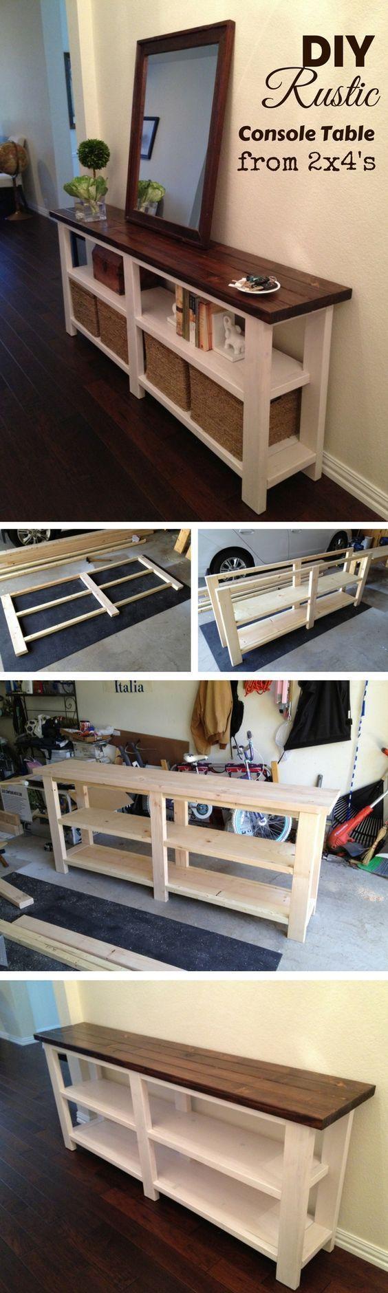 Photo of Erfahren Sie, wie Sie aus 2x4s DIY Home Decor einen rustikalen Konsolentisch aus Holz basteln …