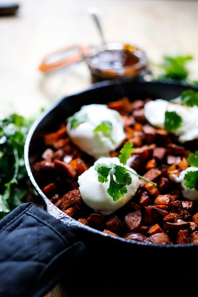 Sweet Potato Hash with Poached Eggs and Harissa Sauce