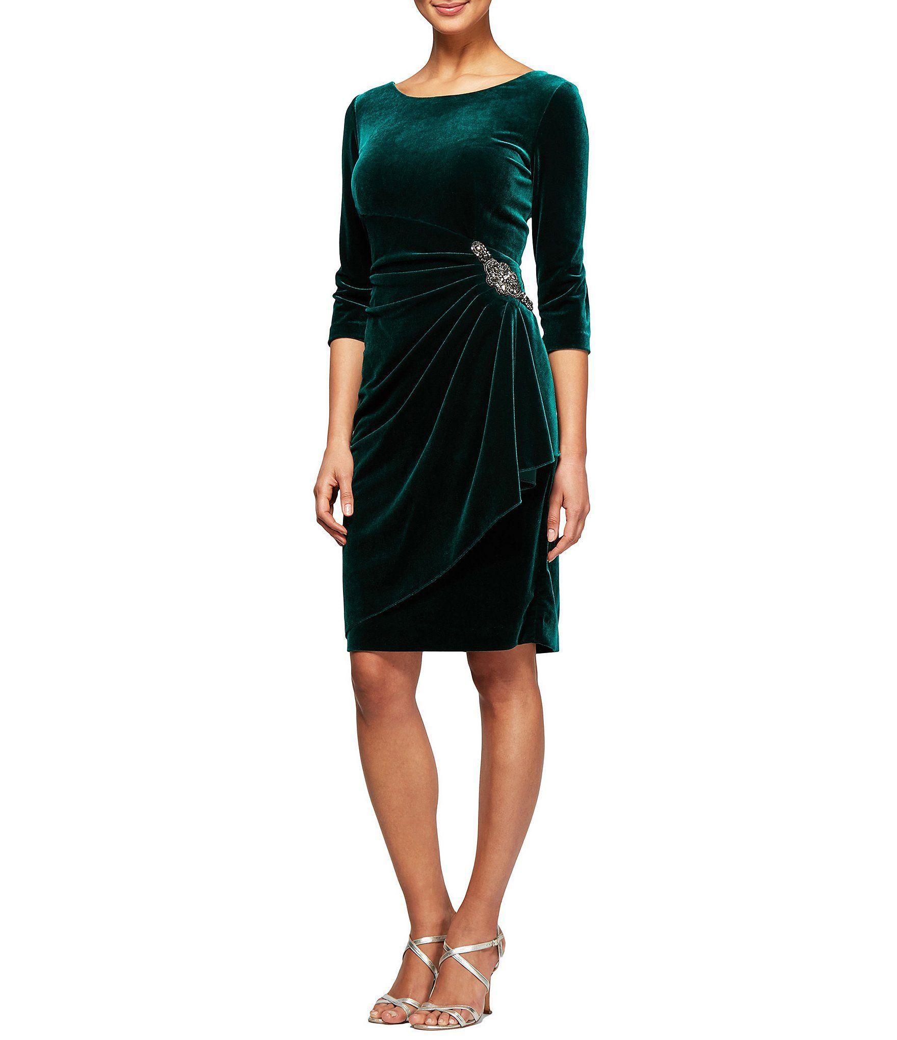 Alex evenings sleeve ruched velvet dress dillards clothing