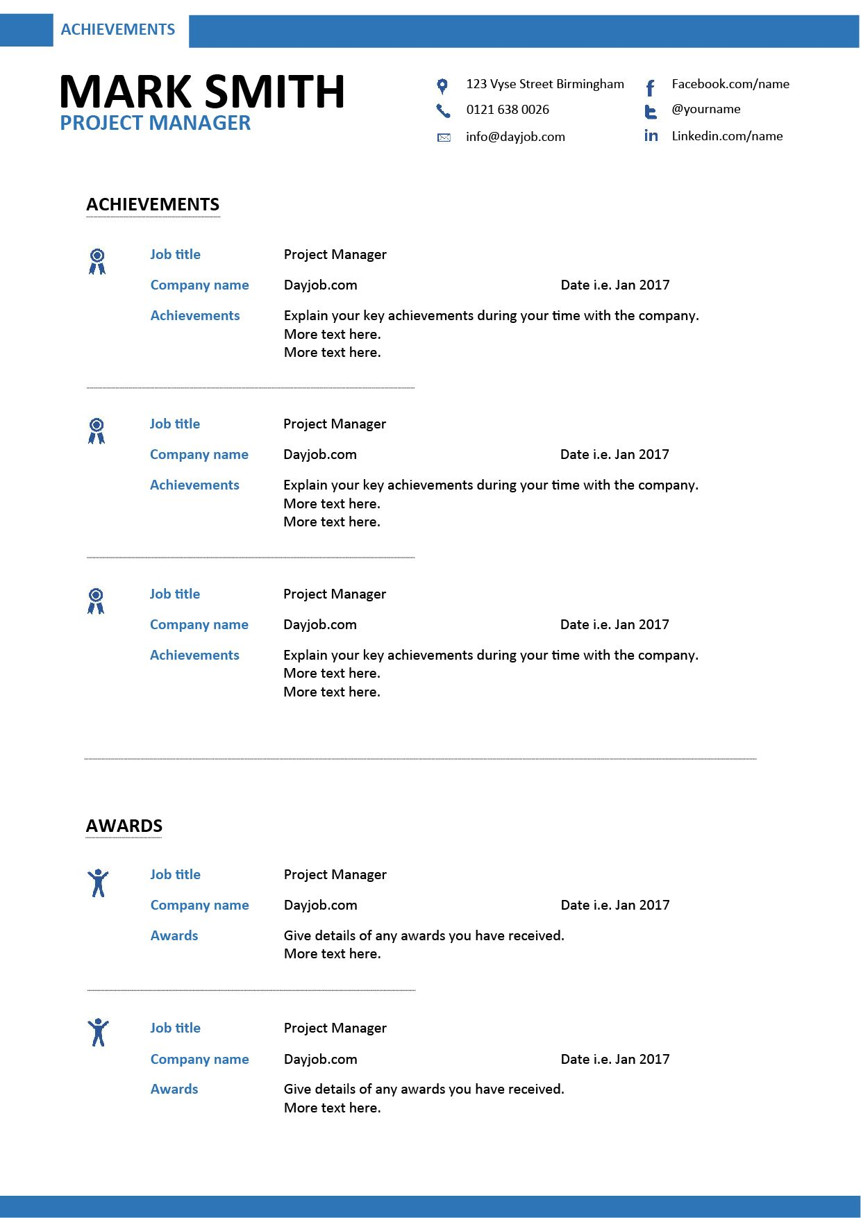 project manager resume achievements page - Resume Achievements
