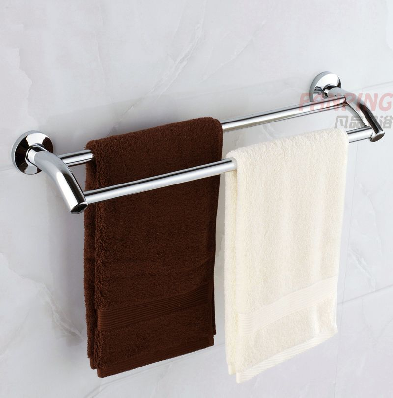 Stainless Steel Double Pole Thicker Bold Bathroom Towel Rack Towel Bar Towel  Hanging Under The Bar