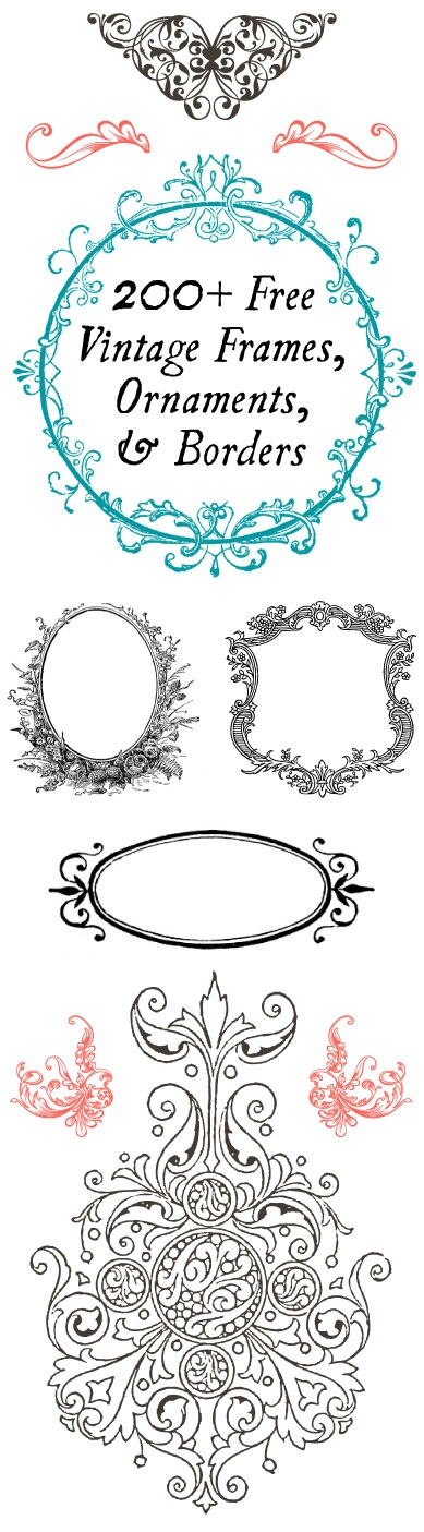 200 FREE Vintage Frames, Ornaments, and Borders - Perfect for DIY ...