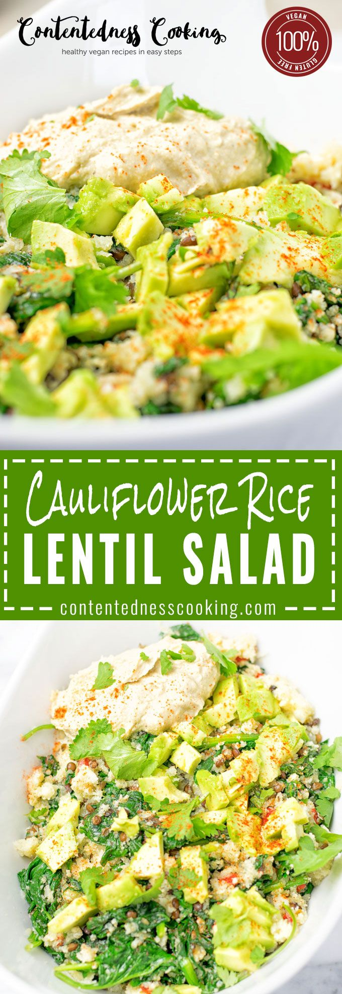 This Cauliflower Rice Lentil Salad is delicious and super easy infused with mediterran flavors. Only 6 ingredients, with cauliflower rice, fresh spinach, lentils and  homemade hummus. Makes an amazing appetizer, lunch or dinner, also vegan and gluten free.