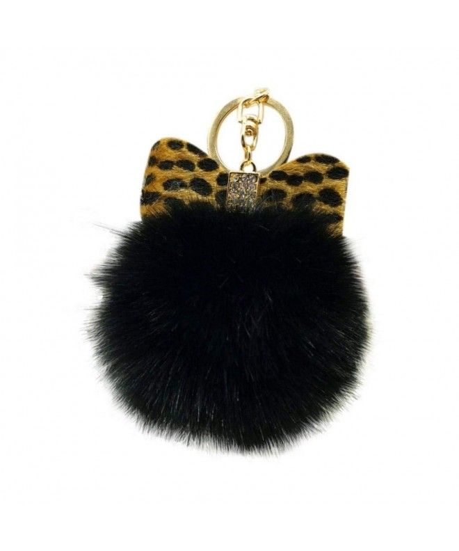 Fluffy Faux Fur Ball Bow knot Keychain Women Handbag Charm Key Ring - Black  - C412O1NLCUK e1a626721