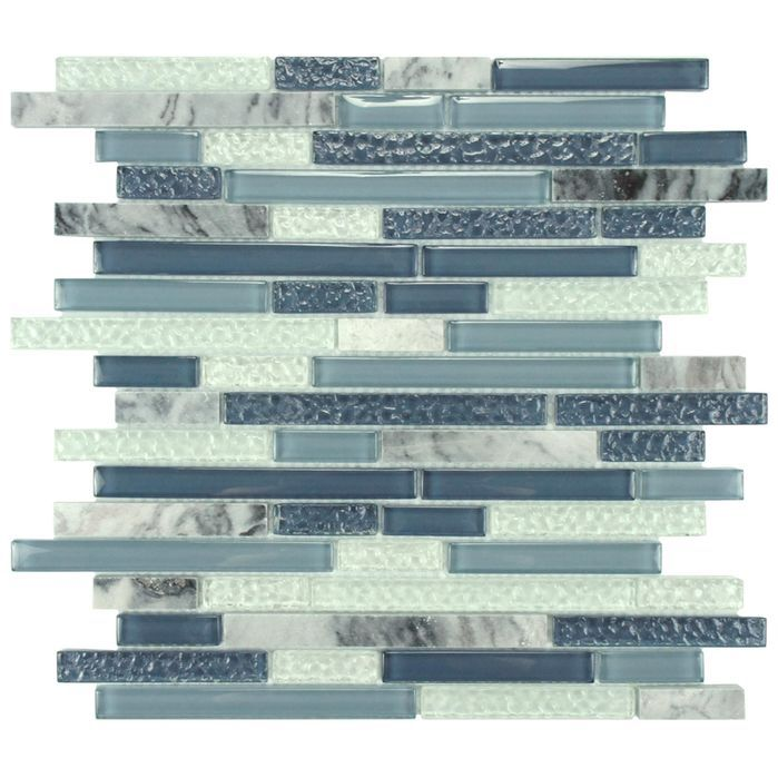 Sierra Random Sized Glass & Natural Stone Mosaic Tile in Gulf