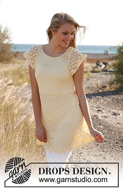Ravelry: 146-8 Anette - Top with lace pattern and raglan in Muskat free pattern by DROPS design