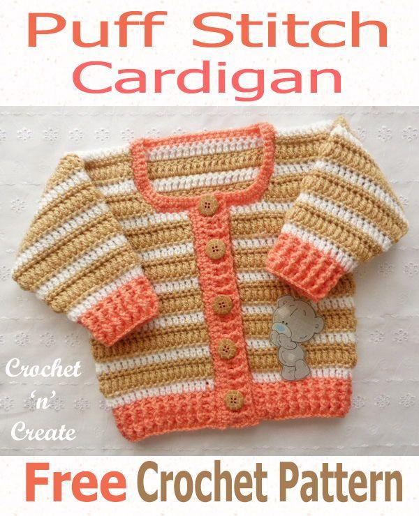 Crochet Puff Stitch Cardigan Free Crochet Pattern | Crochet Baby ...