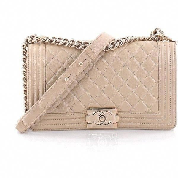 cff26a213472 Pre-Owned Chanel Boy Flap Bag Quilted Caviar Old Medium ($4,250) ❤ liked on  Polyvore featuring bags, handbags, beige, leather purses, leather handbags,  ...