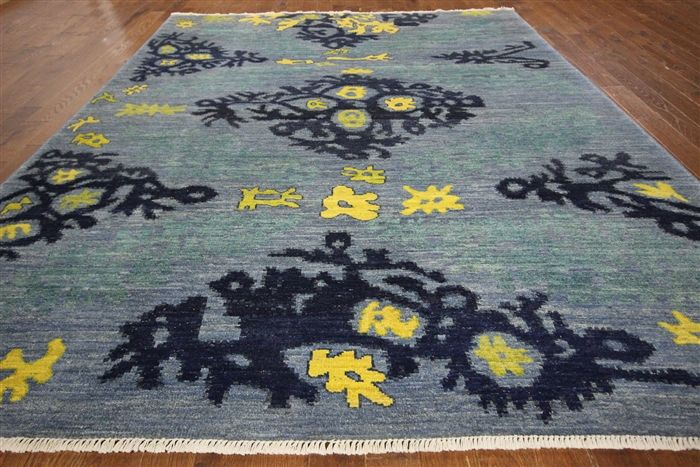 9 X 12 Hand Knotted Moroccan Area Rug P6107 Wool Area Rugs