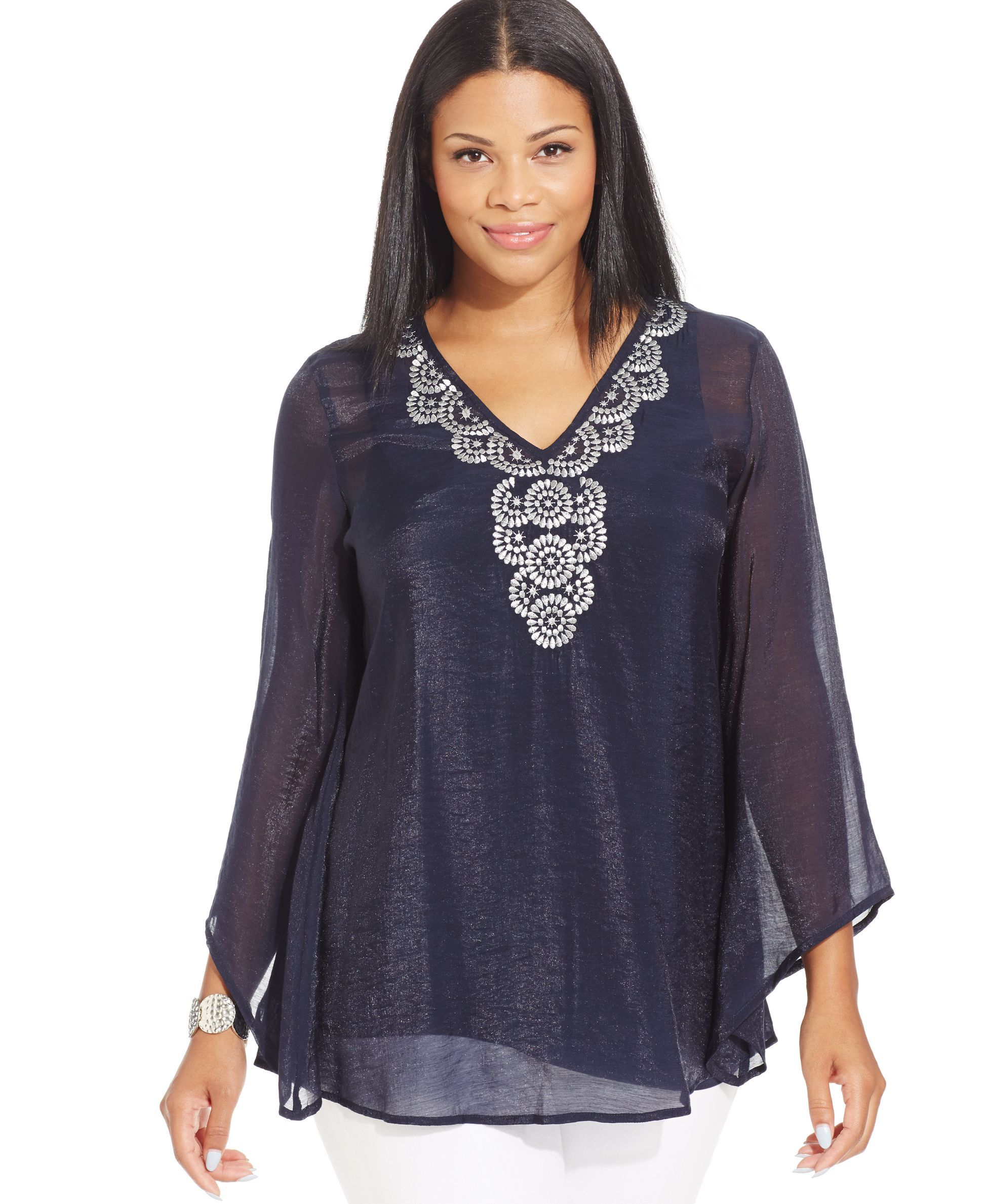 229d8224a455b4 Alfani Plus Size Angel-Sleeve Embroidered Top | Products | Pinterest ...