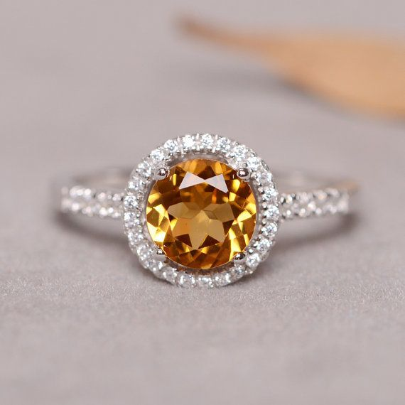 Citrine Gemstone Sterling Silver Ring November Birthstone Ring for Women Solitaire Ring for Her Wedding Ring for Bridal