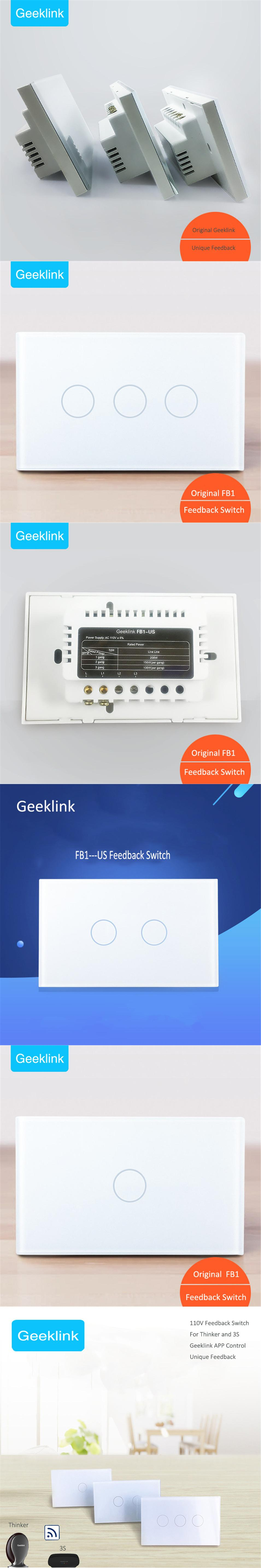 New Original Smart Home Geeklink US Type Touch panel Feedback Switch ...