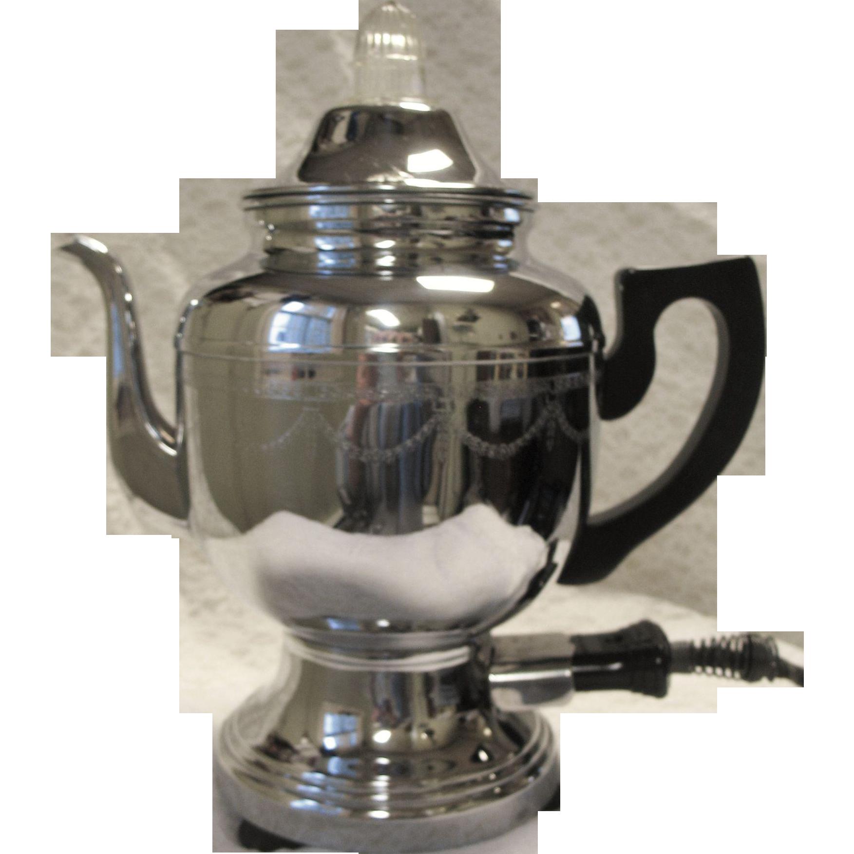 Vintage Farberware Electric Coffee Percolator Pot Art Deco Chrome Etched