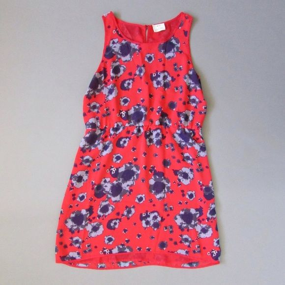 "Urban Outfitters - Pins and Needles Dress • Size L (chest: 25.5"", length: 35.5"") • Beautiful and perfect for summer! Sleeveless red with purple flower print.  I wore this (I'm an XS) with a brown belt, cardigan and boots.  It's super cute on! Urban Outfitters Dresses Midi"