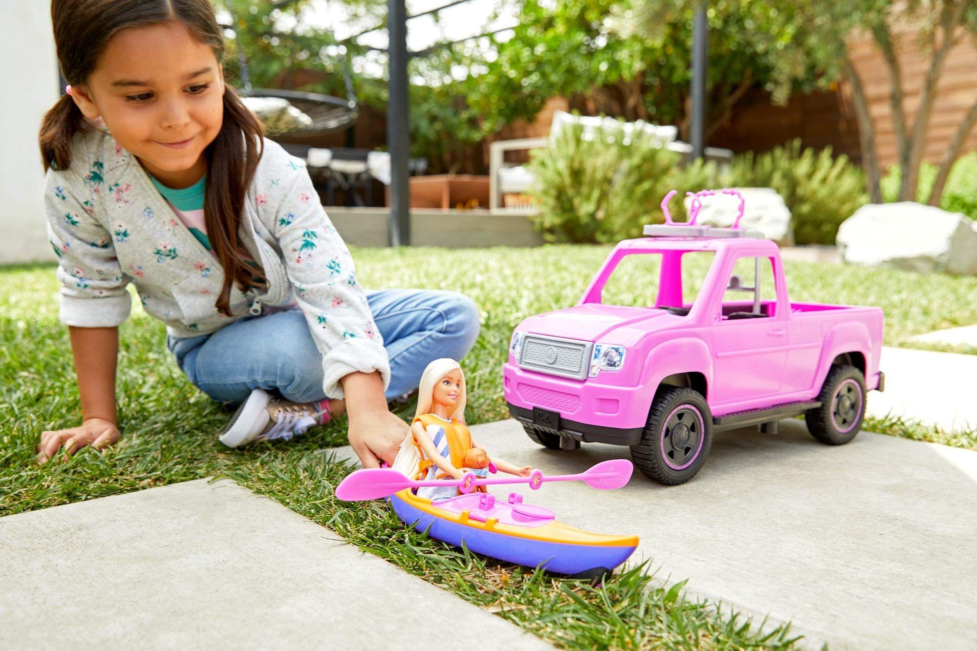 Pink Truck And Sea Kayak Adventure Playset Barbie Camping Fun Doll