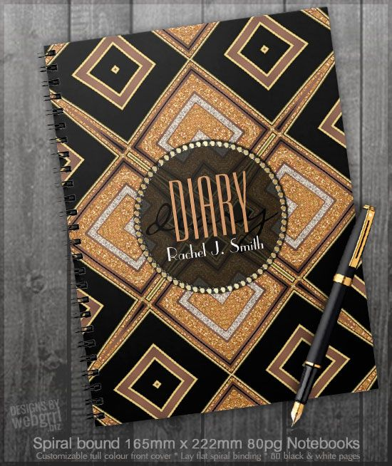 Art Deco Diamonds Black Gold Diary Notebook Zazzle Com Art Deco Diamond Art Deco Notebook