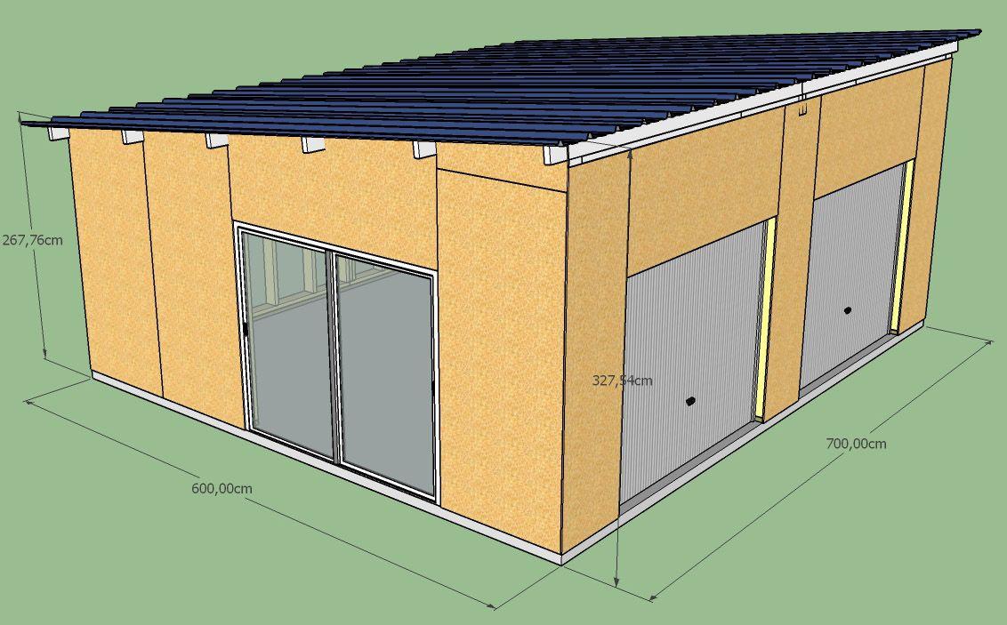 Fabrication D Un Double Garage Ossature Bois Copain Des Copeaux En 2020 Ossature Bois Garage Double Exterieur Bardage