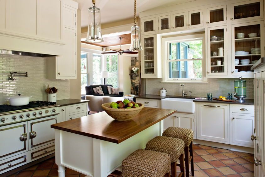 Cottage styled kitchen remodel with white, glass pane ...