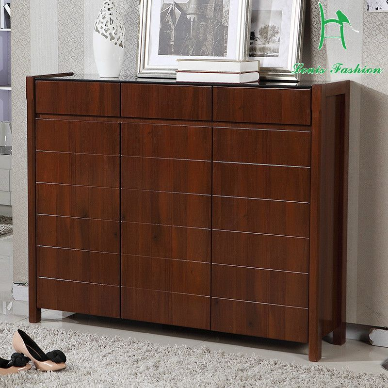 Solid Wood Frame Brown White Colored Three Door Wooden Shoe Cabinet With Big Capacity In Shoe Cabinets From Furn Wooden Shoe Cabinet Shoe Cabinets Shoe Cabinet
