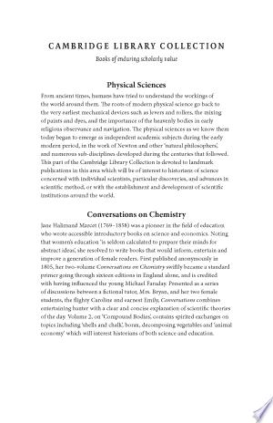 Conversations On Chemistry Pdf Download In 2020 Chemistry Cambridge Library Cambridge University Press