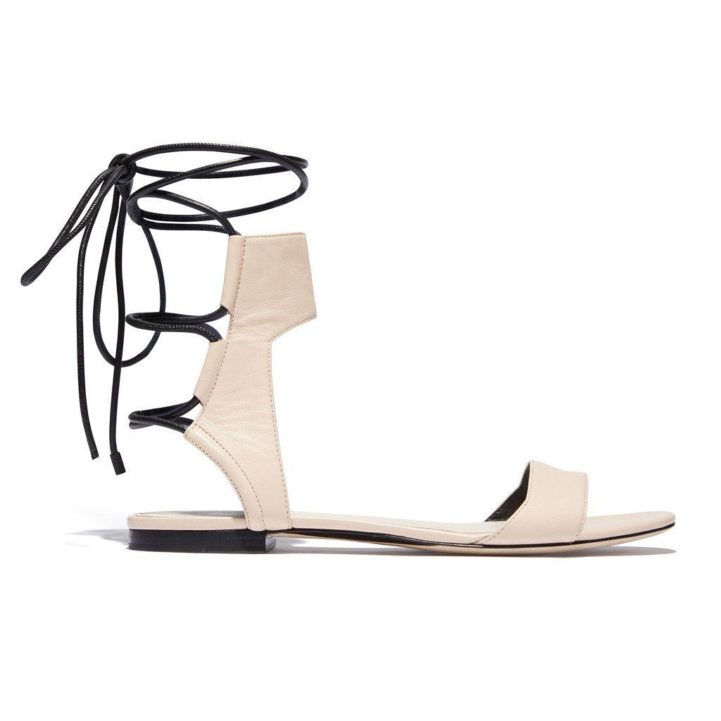 3.1 Phillip Lim Designer Shoes, Martini Leather Ankle Lace Flat Sandal
