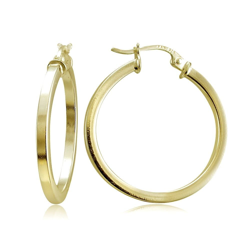 Rose Gold Tone over Sterling Silver Square High Polished Hoop Earrings