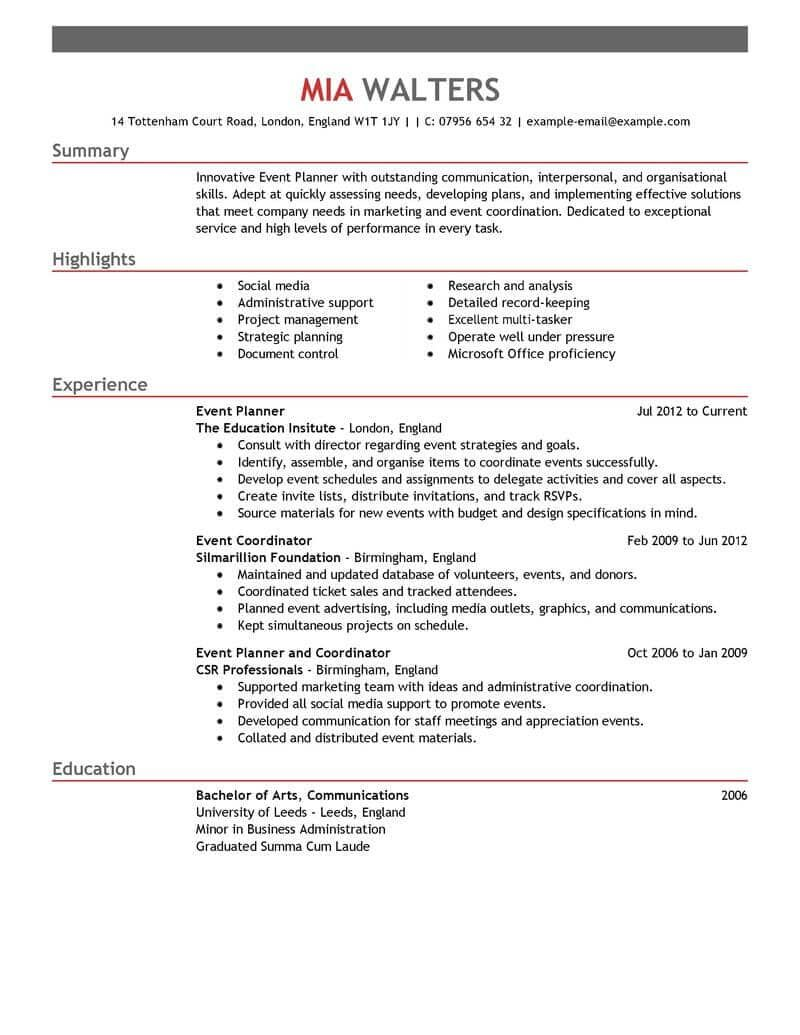 Resume Examples Event Coordinator Event planning quotes