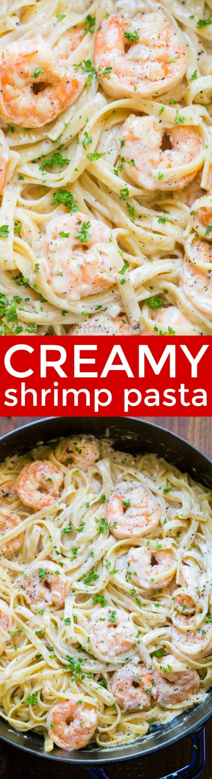 Creamy Shrimp Pasta reminds me of my favorite dish at Olive Garden with plump juicy shrimp and the easiest alfredo sauce. Rave reviews on this shrimp pasta! | natashaskitchen.com #shrimppasta