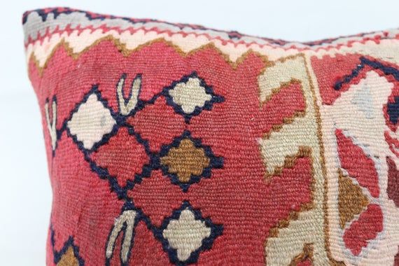Turkish Kilim Pillow, 16x16 Tribal Pillow, Best Pillow Covers, Red Pillow, Outdoor Pillow, Geometric