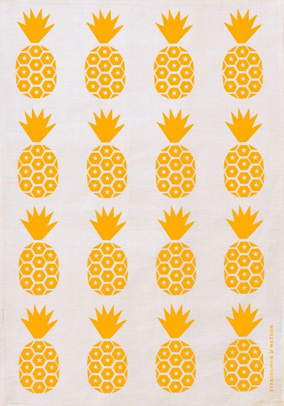 E Pineapple Print Tea Towel (Bold Yellow on White Linen)